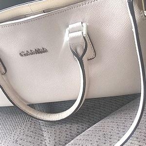 Calvin Klein ivory satchel w detachable handle